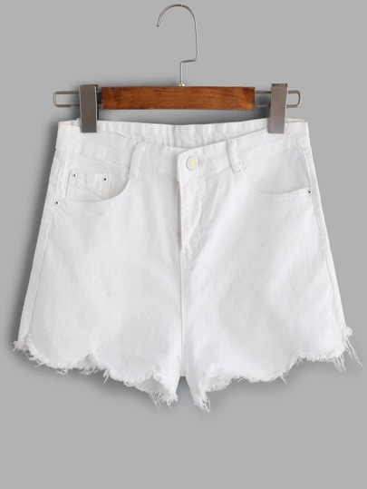 White Scallop Raw Hem Denim Shorts