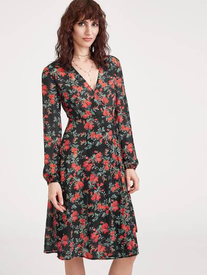 Stampa floreale Wrap Dress - nero
