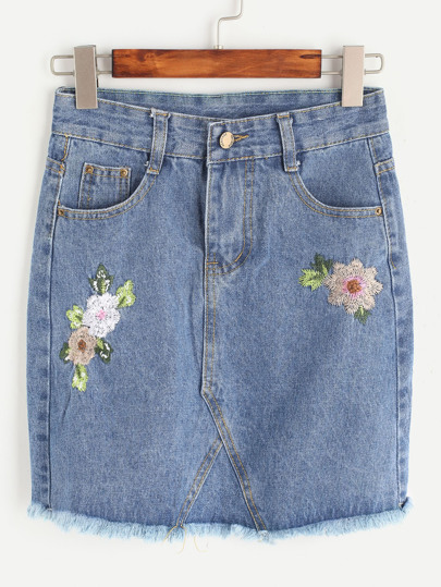 Blue Flower Embroidered Raw Hem Denim Skirt