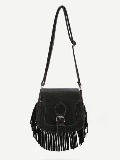 Black Fringe Hem Buckle PU Shoulder Bag