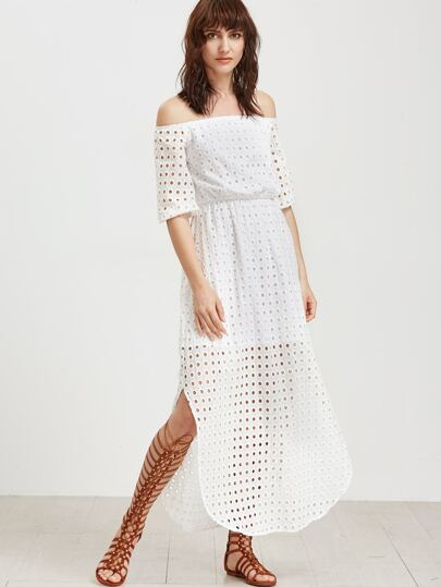White Off The Shoulder Eyelet Embroidered Dress