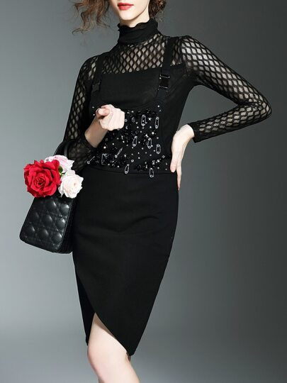Black Beading Two-pieces Strap Dress