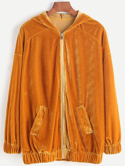 Mustard Drop Shoulder Zip Up Velvet Hoodie