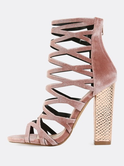 Smooth Velvet Caged Chunky Heels MAUVE