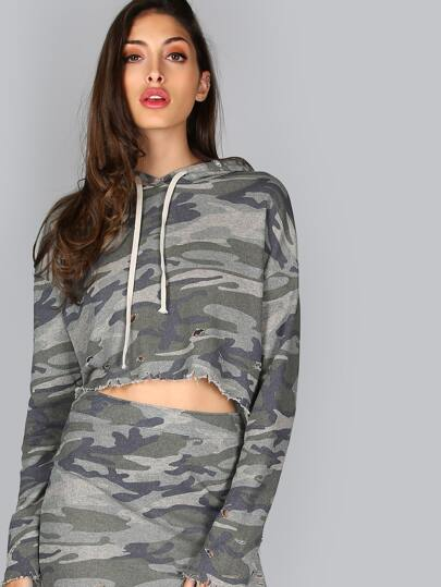 Distressed Camo Crop Hoodie CAMOUFLAGE