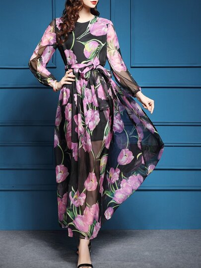 Black Flowers Print Tie-Waist Maxi Dress