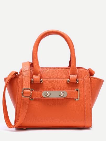 Orange PU Shoulder Bag With Adjustable Strap