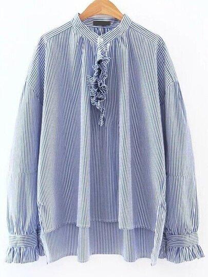 Contrasto blu a strisce Ruffle Trim camicetta