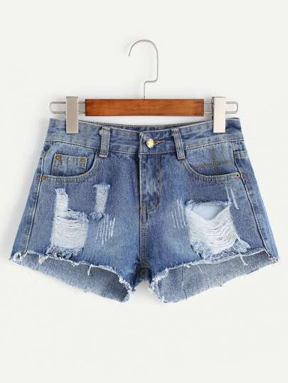 Light Blue Ripped Raw Hem Denim Shorts