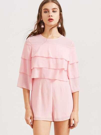 فستان وردي كم عادي ياقة دائرية