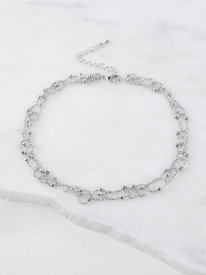 Interlinked Metallic Beaded Choker SILVER