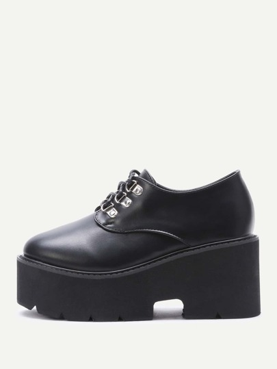 Black Lace Up Zeppe PU
