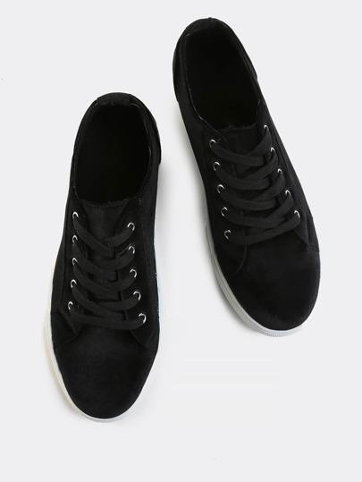Classic Velvet Round Toe Sneakers BLACK
