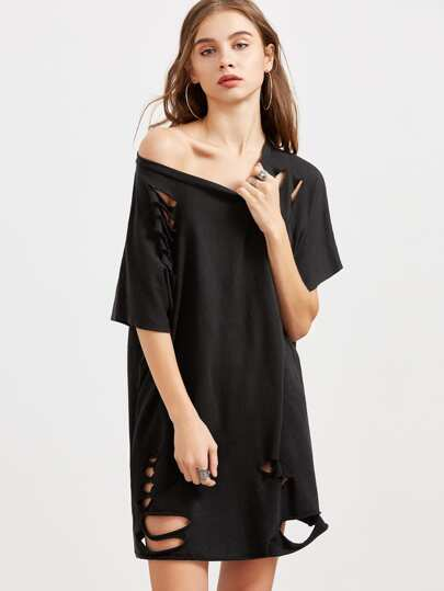 Black Ripped Raw Hem Oversized Tee Dress