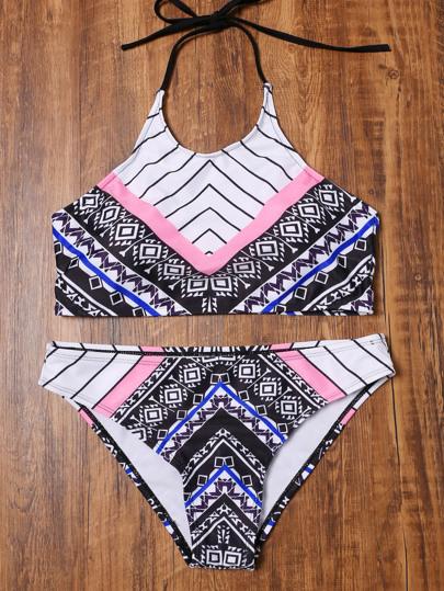 Geo Printed Halter Bikini Set