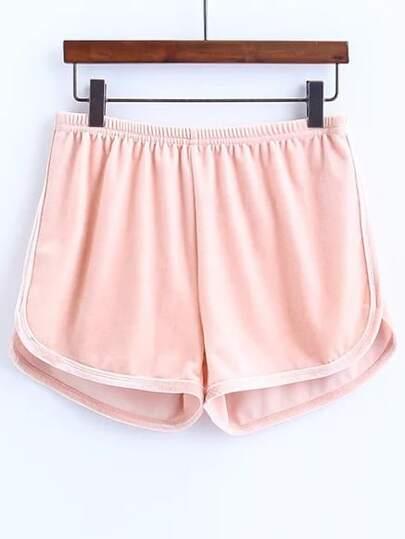 les shorts taille élastique rose velours