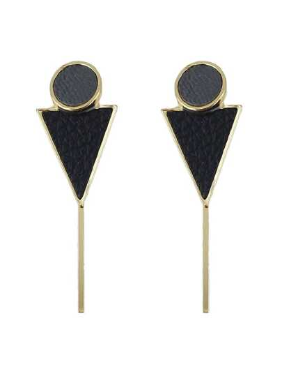 Black Color Triangle Shape Pu Leather Hanging Stud Earrings