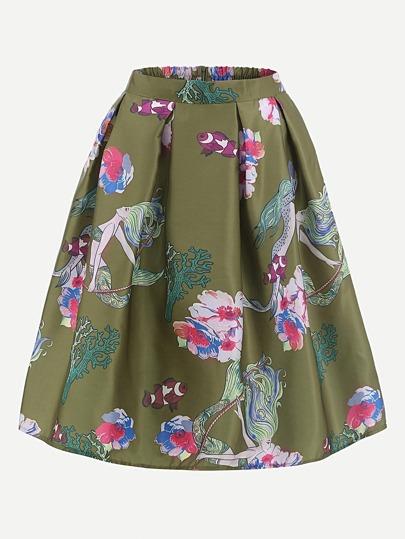 Модная плиссированная юбка цвета хаки с принтом