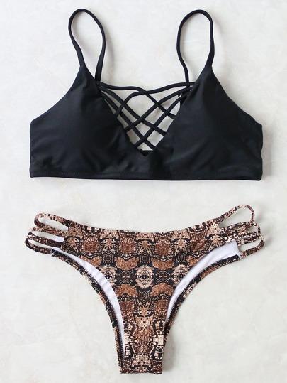 Black Leopard Criss Cross Sexy Bikini Set