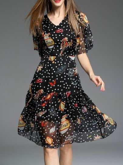 Black V Neck Polka Dot A-Line Dress