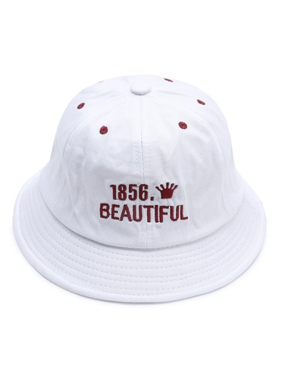 White Letter Embroidery Wide Brim Hat