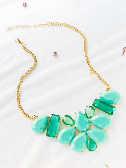 Jade Blue Gemstone Statement Necklace