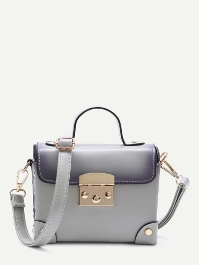 Grey Studded Flap PU Shoulder Bag