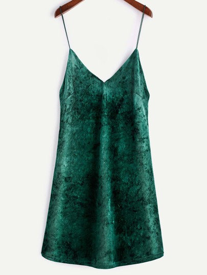Green Velvet V Neck Slip Dress