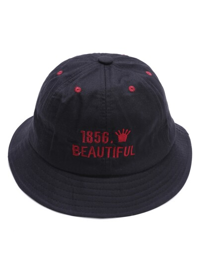 Black Letter Embroidery Wide Brim Hat