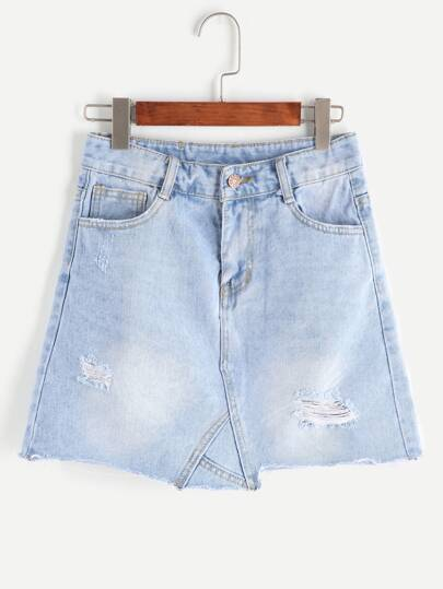 Blue Ripped Bleach Wash Raw Hem Denim Skirt