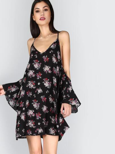 Flutter Sleeve Floral Dress BLACK MULTI