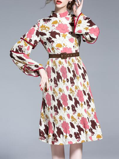 Color Block Floral Pleated Belted Dress