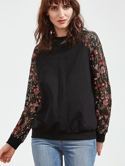 Two Tone Floral Lace Sleeve Sweatshirt