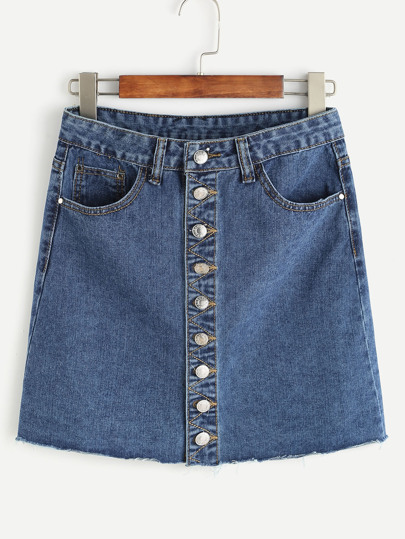 Blau Einreiher Raw Hem-Denim-Rock