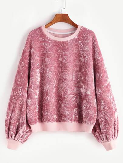Pink Drop Shoulder Bishop Sleeve Crushed Velvet Sweatshirt
