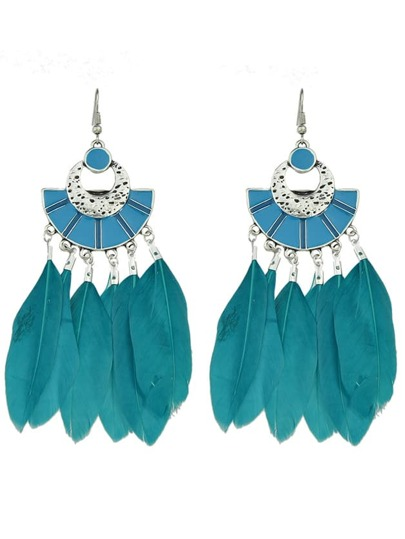 Blue Color Boho Style Feather Big Dangle Earrings