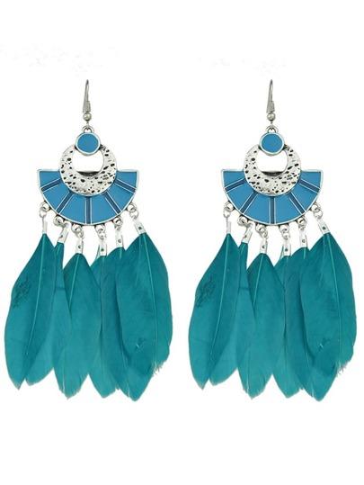 Boucle d'oreille pendentif large en plume style bohême couleur bleu