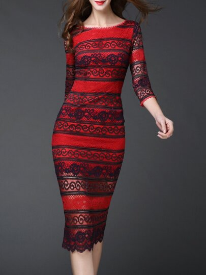 Red Backless Split Disc Flowers Lace Dress