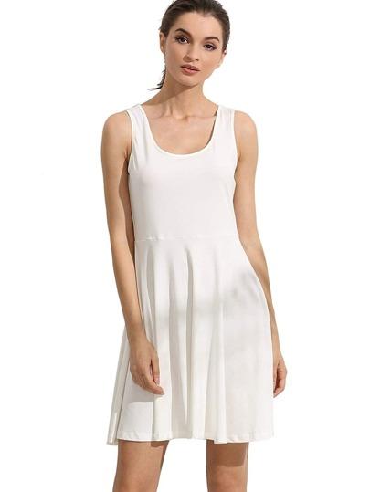 White Sleeveless Plain Casual Skater Dress