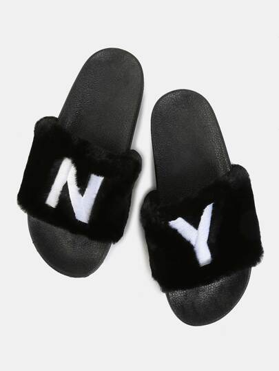 Embroidered Faux Fur Sandals BLACK