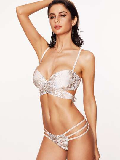 White Snake Print Ladder Cutout Bikini Set