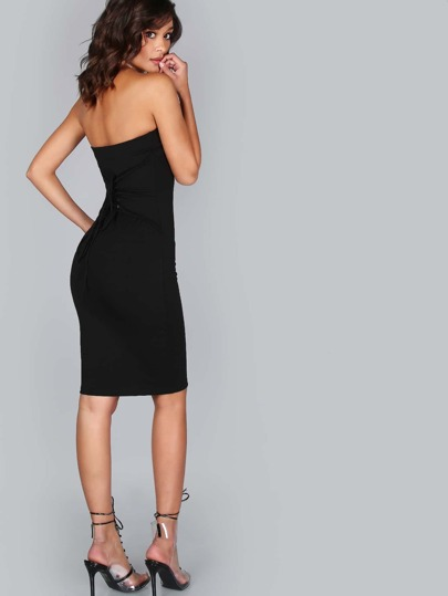Lace Up Strapless Dress BLACK