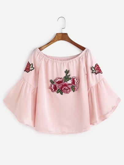Rosa-Boot-Ausschnitt Bell-Hülsen-Blume gestickte Aufnäher Top