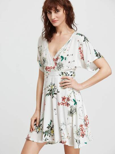 Botanical Print Plunging V-Neckline Dress