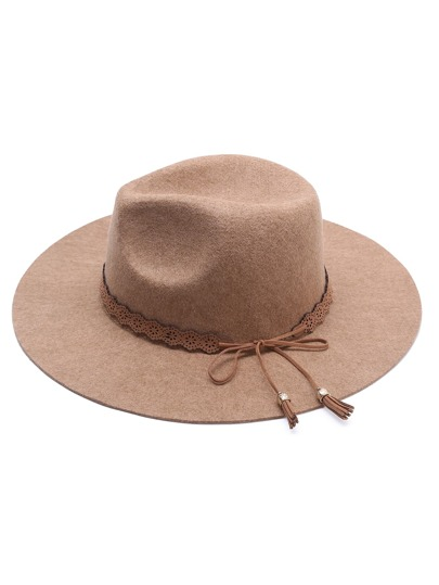Khaki Wide Brim Hat With Bow Tie