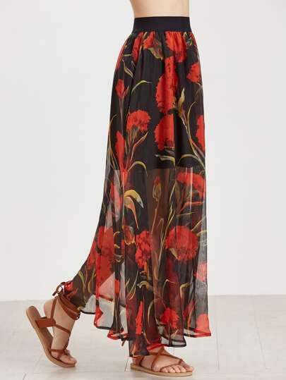 Floral Print Mesh Overlay Longline Skirt
