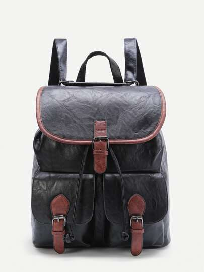 Black Contrast Trim Buckle Design PU Backpack