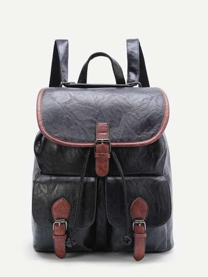 أسود التباين تريم الإبزيم تصميم بو حقيبة الظهر