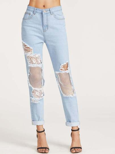 Bleach Wash Ripped Fishnet Lined Boyfriend Jeans