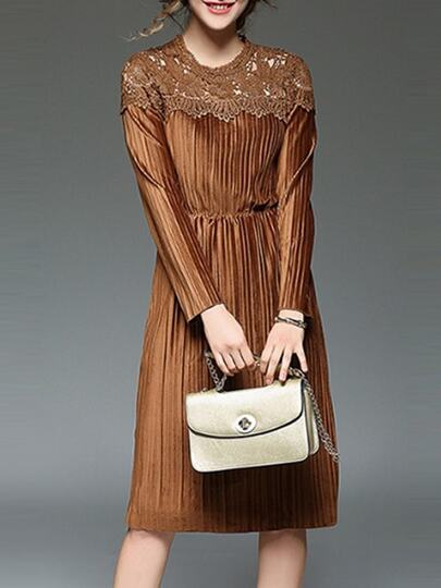 Camel Contrast Crochet Hollow Out Velvet Dress